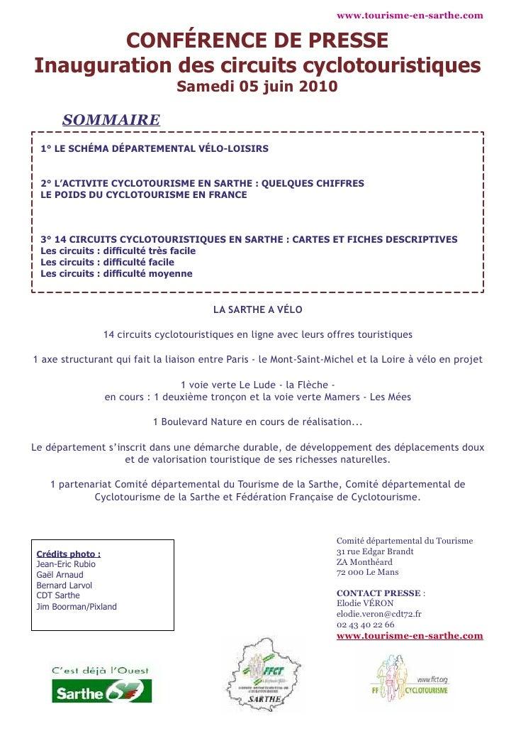 www.tourisme-en-sarthe.com           CONFÉRENCE DE PRESSE Inauguration des circuits cyclotouristiques                     ...