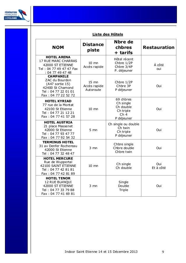 Liste des Hôtels  Distance piste  Nbre de chbres + tarifs  10 mn Accès rapide  Hôtel récent Chbre 1/2P Chbre 3/4P P. déjeu...