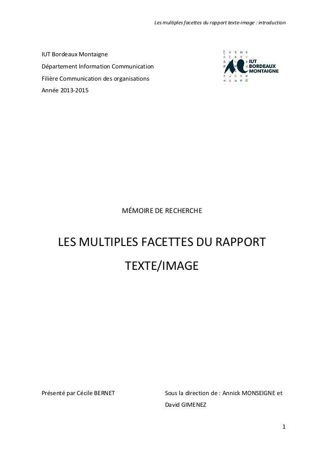 Les multiples facettes du rapport texte-image : introduction 1 . IUT Bordeaux Montaigne Département Information Communicat...