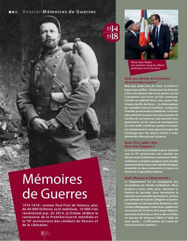 Dossier Mémoires de Guerres Mémoires de Guerres 10 N°112 Pierre-Jean Veyret, vice-président chargé des Affaires patriotiqu...