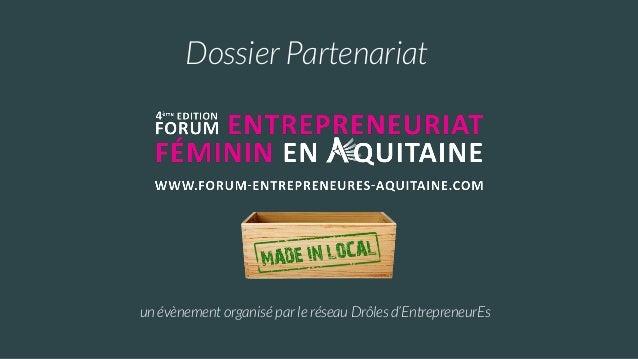 Dossier Partenariat un évènement organisé par le réseau Drôles d'EntrepreneurEs