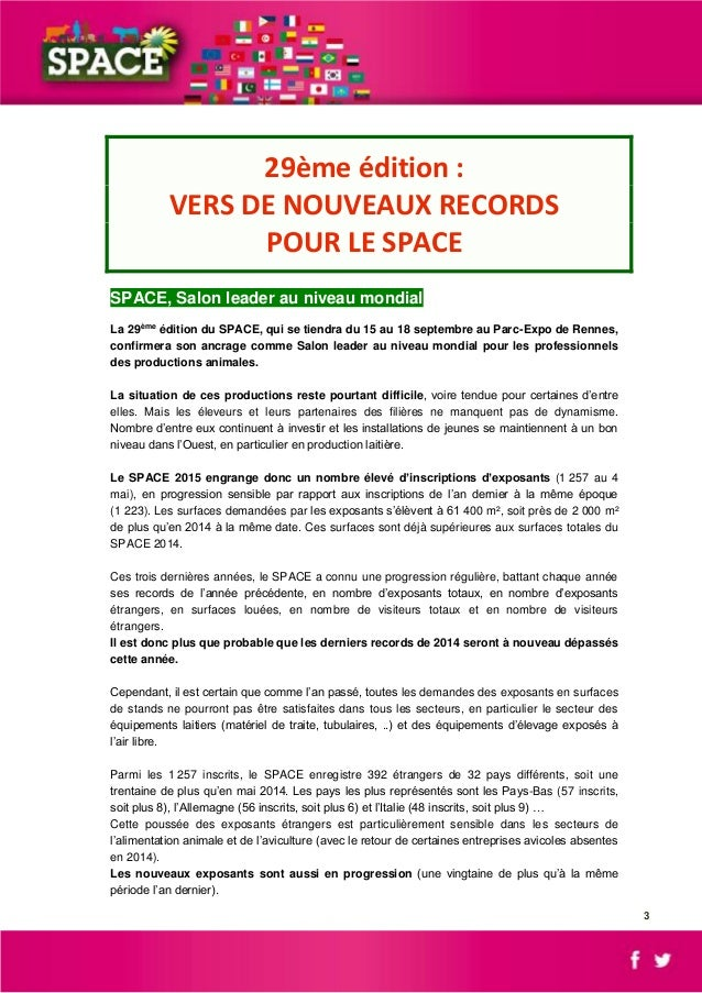 Dossier de presse space 2015 for Salon de l emploi rennes