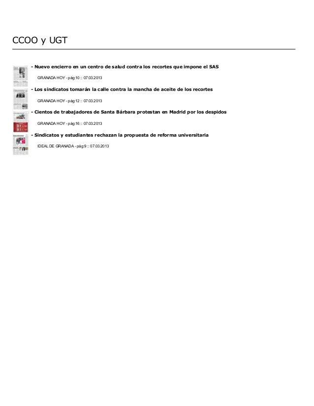 CCOO y UGT   - Nuevo encierro en un centro de salud contra los recortes que impone el SAS     GRANADA HOY - pág:10 :: 07.0...