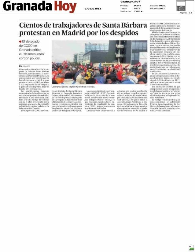 Laboral    - La corrupción se dispara como preocupación de los españoles      20 MINUTOS GRANADA - pág:4 :: 07.03.2013    ...