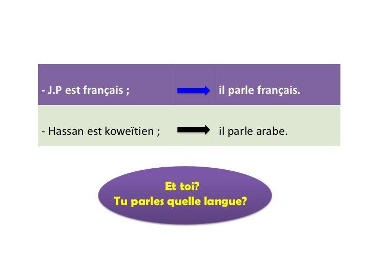 - J.P est français ;              il parle français.- Hassan est koweïtien ;          il parle arabe.                     ...