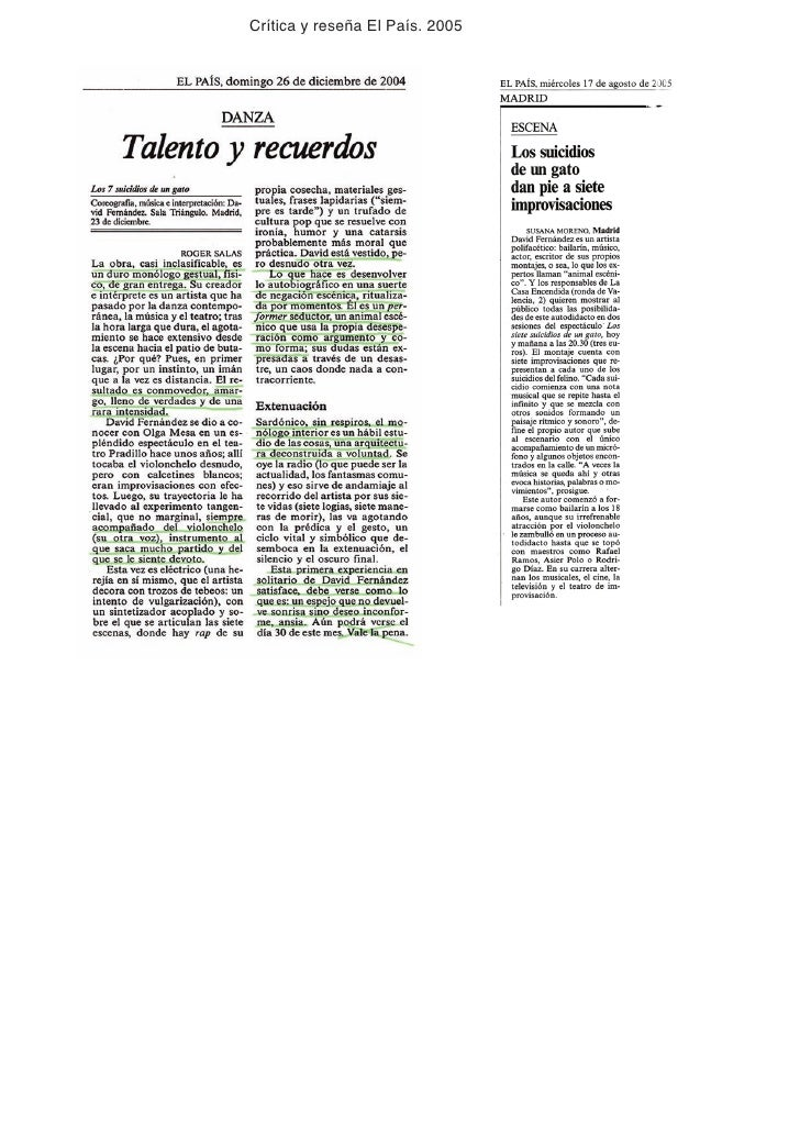 Crítica y reseña El País. 2005