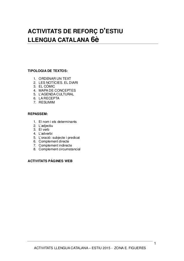 ACTIVITATS LLENGUA CATALANA – ESTIU 2015 - ZONA E. FIGUERES 1 ACTIVITATS DE REFORÇ D'ESTIU LLENGUA CATALANA 6è TIPOLOGIA D...