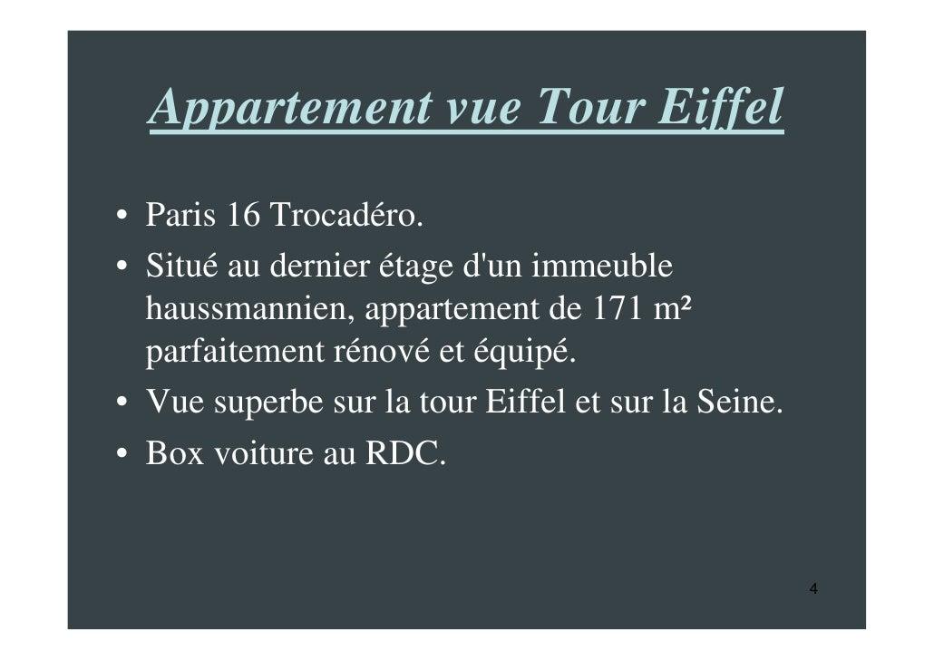 appartement a vendre paris 16 trocadero vue tour eiffel. Black Bedroom Furniture Sets. Home Design Ideas