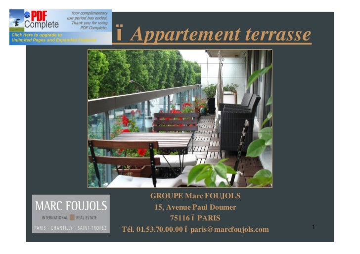 Neuilly     Appartement terrasse                   GROUPE Marc FOUJOLS                    15, Avenue Paul Doumer          ...