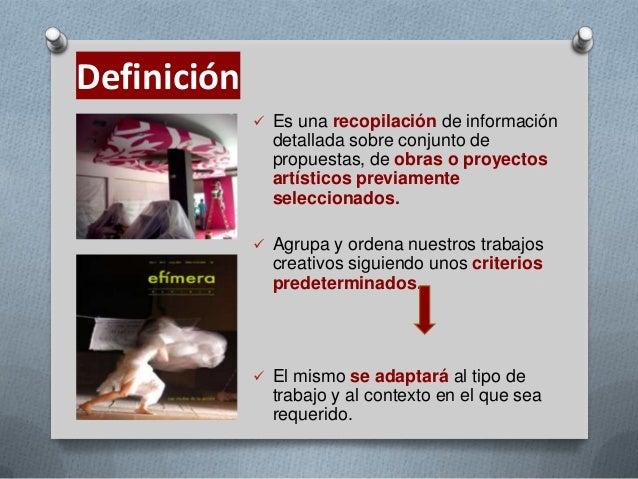 El Dossier de Obra en Las Artes Plástica.  Slide 3