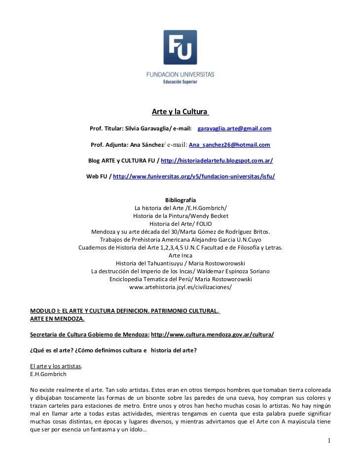 Arte y la Cultura                           Prof. Titular: Silvia Garavaglia/ e-mail: garavaglia.arte@gmail.com           ...