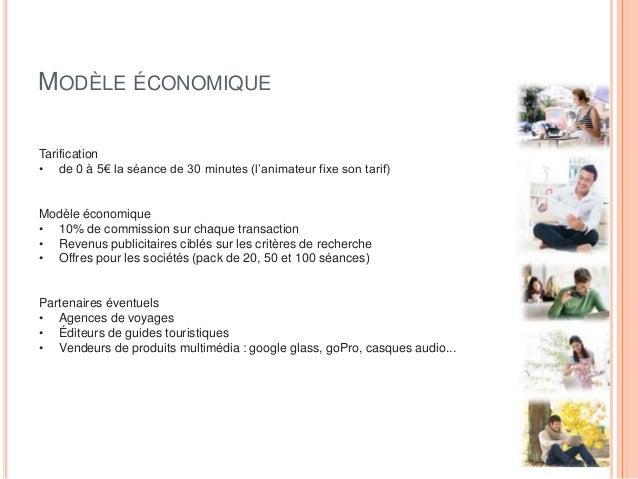 MODÈLE ÉCONOMIQUE Tarification • de 0 à 5€ la séance de 30 minutes (l'animateur fixe son tarif) Modèle économique • 10% de...
