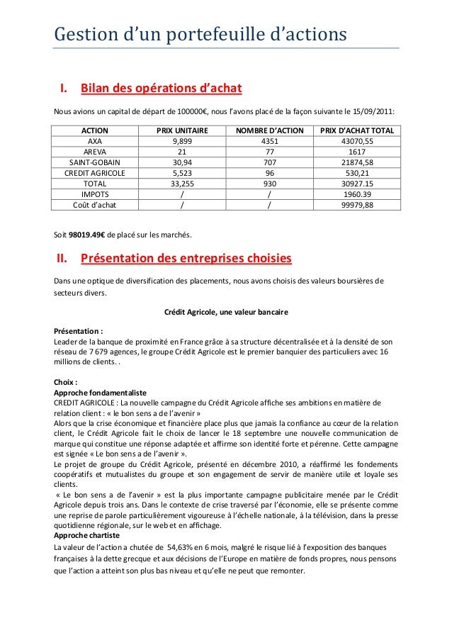 Gestion d'un portefeuille d'actions I. Bilan des opérations d'achatNous avions un capital de départ de 100000€, nous l'avo...