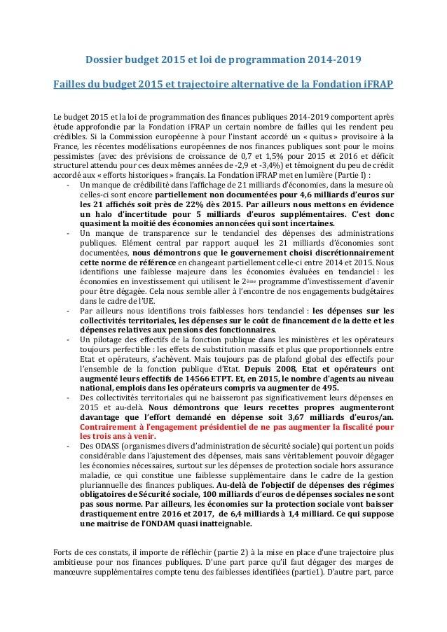 Dossier budget 2015 et loi de programmation 2014-2019  Failles du budget 2015 et trajectoire alternative de la Fondation i...