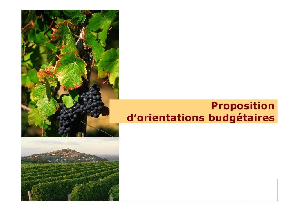 Proposition                                                           d'orientations budgétaires     Comité départemental ...