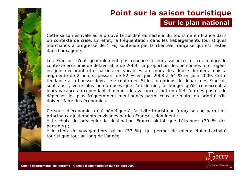 Point sur la saison touristique                                                                                 Sur leBure...