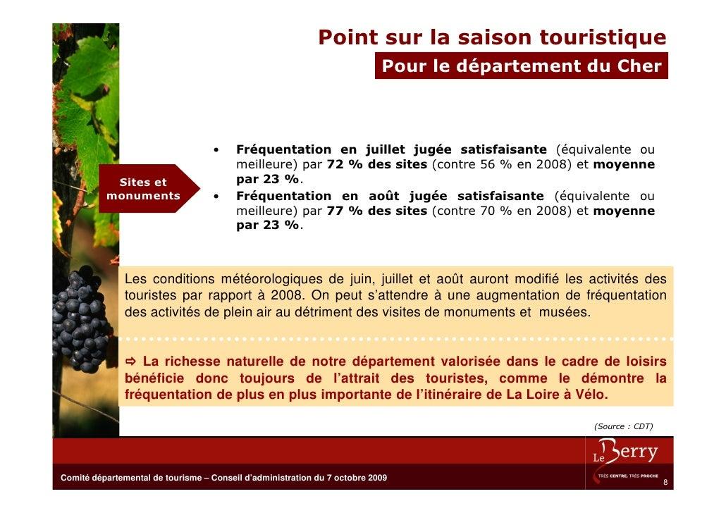 Point sur la saison touristique                                                                            Pour le départe...
