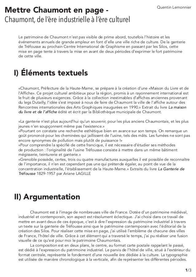 Mettre Chaumont en page - Chaumont, de l'ère industrielle à l'ère culturel I) Éléments textuels «Chaumont, Préfecture de l...