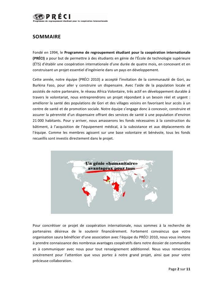 SOMMAIRE  Fondé en 1994, le Programme de regroupement étudiant pour la coopération internationale (PRÉCI) a pour but de pe...