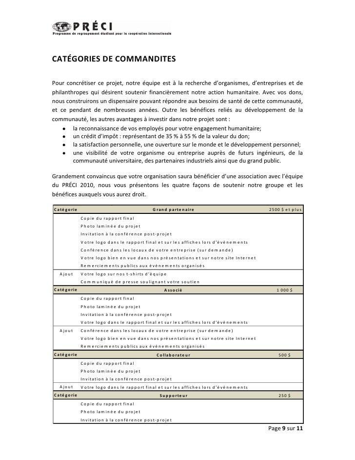 CATÉGORIES DE COMMANDITESPour concrétiser ce projet, notre équipe est à la recherche d'organismes, d'entreprises et dephil...