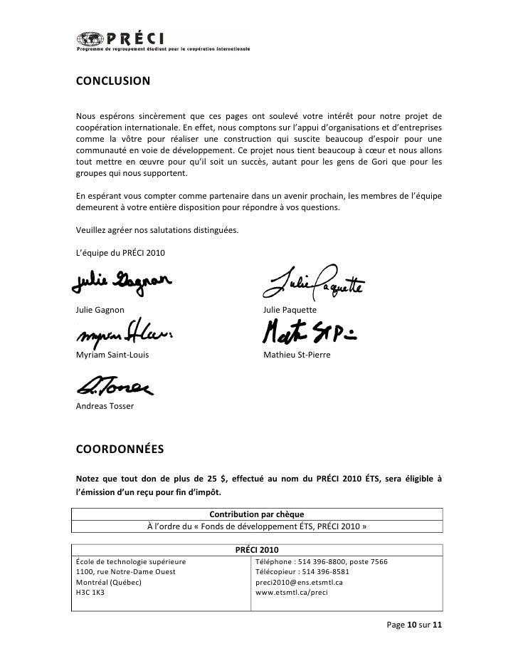 CONCLUSIONNous espérons sincèrement que ces pages ont soulevé votre intérêt pour notre projet decoopération internationale...