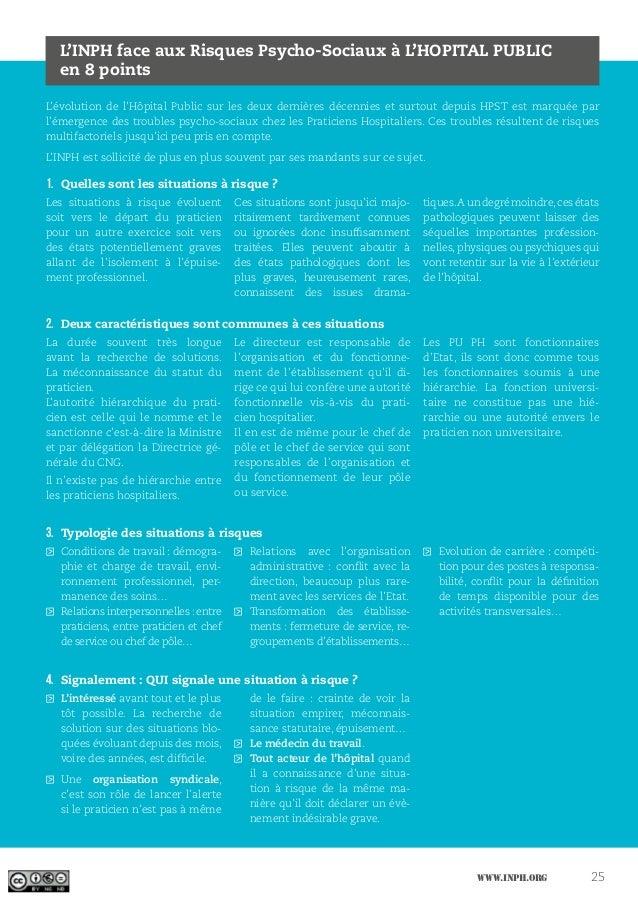 www.inph.org 25 L'INPH face aux Risques Psycho-Sociaux à L'HOPITAL PUBLIC en 8 points L'évolution de l'Hôpital Public sur ...