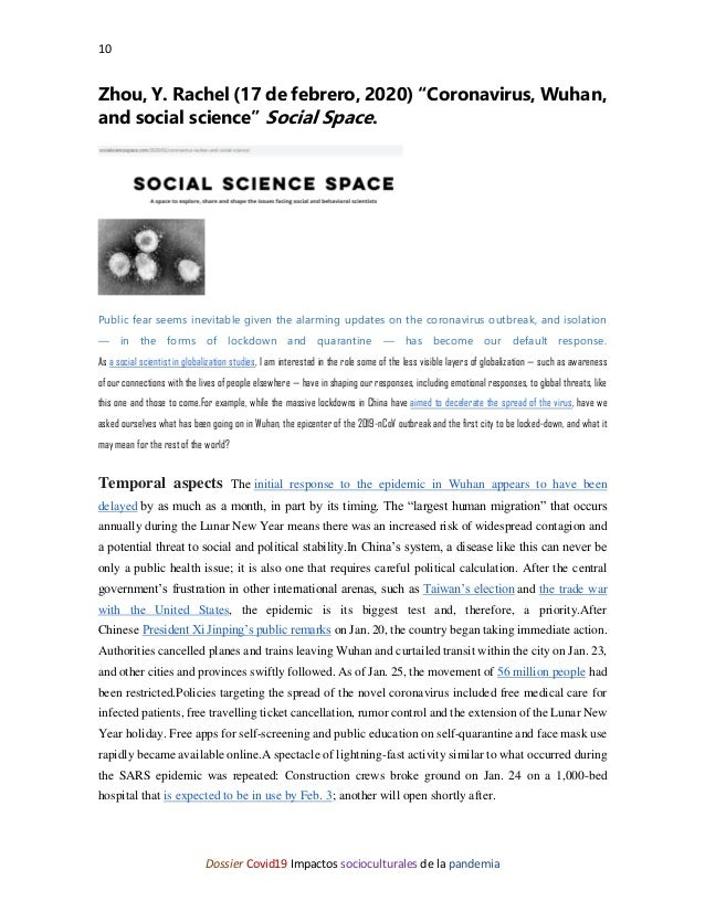 """10 Dossier Covid19 Impactos socioculturales de la pandemia Zhou, Y. Rachel (17 de febrero, 2020) """"Coronavirus, Wuhan, and ..."""