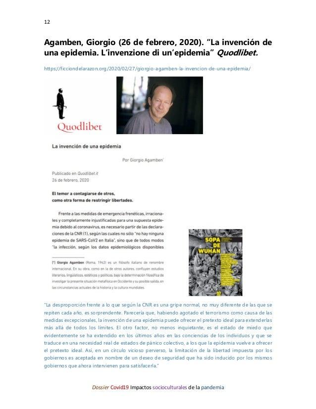 """12 Dossier Covid19 Impactos socioculturales de la pandemia Agamben, Giorgio (26 de febrero, 2020). """"La invención de una ep..."""