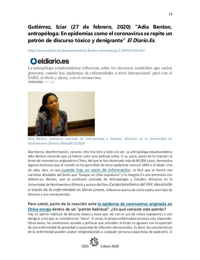 "13 CESS Colson 2020 Gutiérrez, Icíar (27 de febrero, 2020) ""Adia Benton, antropóloga: En epidemias como el coronavirus se ..."