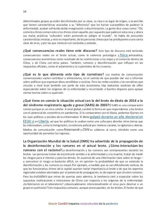 14 Dossier Covid19 Impactos socioculturales de la pandemia determinados grupos ya están discriminados por su clase, su raz...