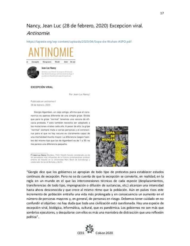 17 CESS Colson 2020 Nancy, Jean Luc (28 de febrero, 2020) Excepcion viral. Antinomie. https://lapeste.org/wp-content/uploa...