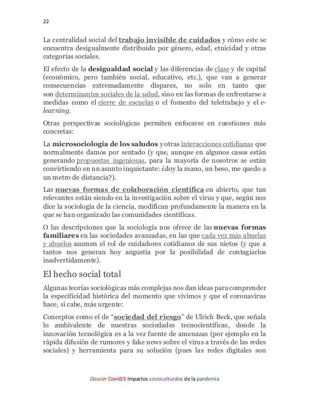 22 Dossier Covid19 Impactos socioculturales de la pandemia La centralidad social del trabajo invisible de cuidados y cómo ...