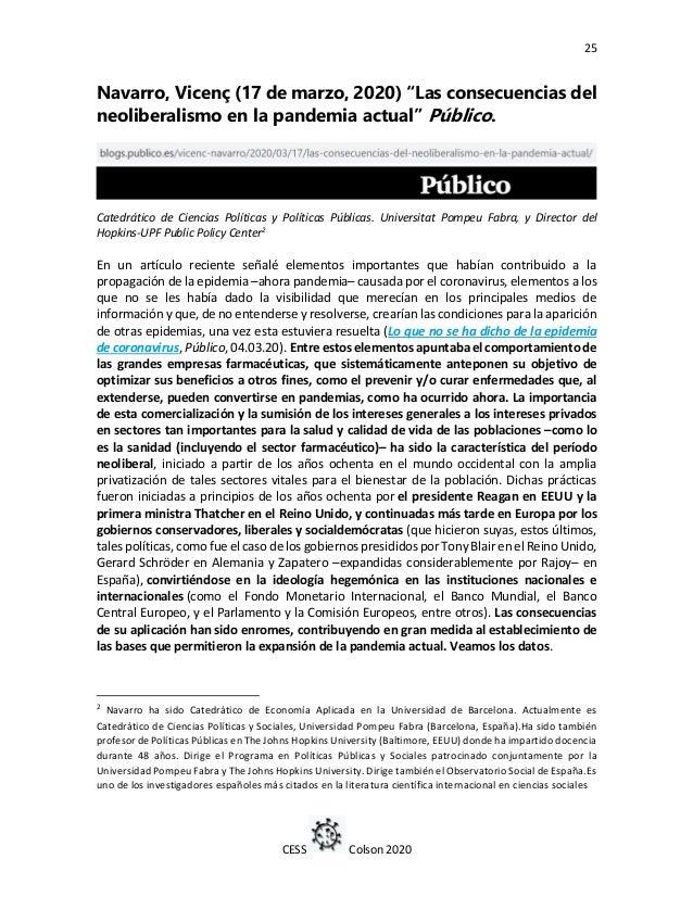 """25 CESS Colson 2020 Navarro, Vicenç (17 de marzo, 2020) """"Las consecuencias del neoliberalismo en la pandemia actual"""" Públi..."""