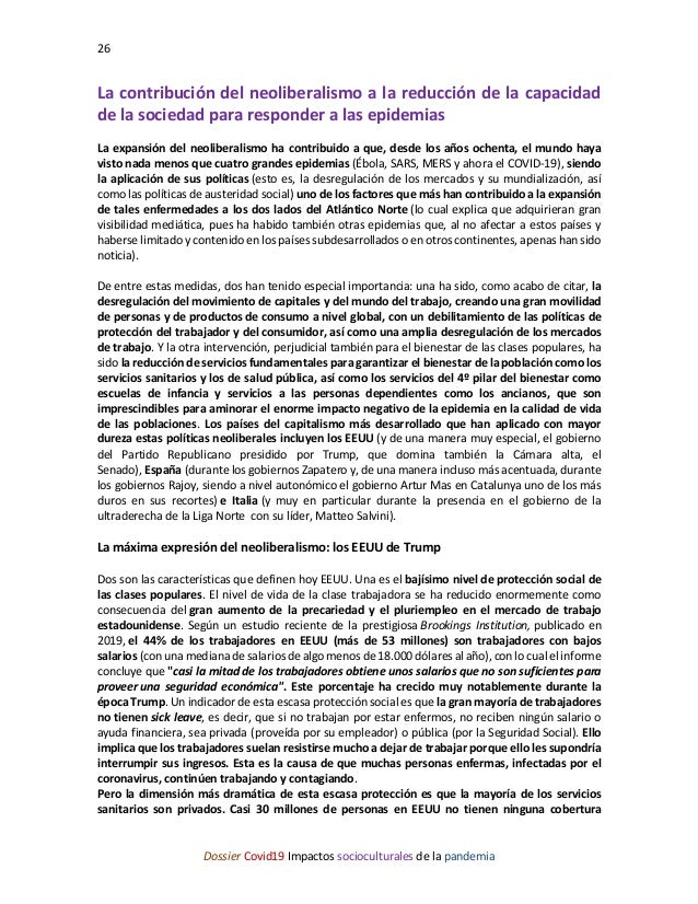 26 Dossier Covid19 Impactos socioculturales de la pandemia La contribución del neoliberalismo a la reducción de la capacid...