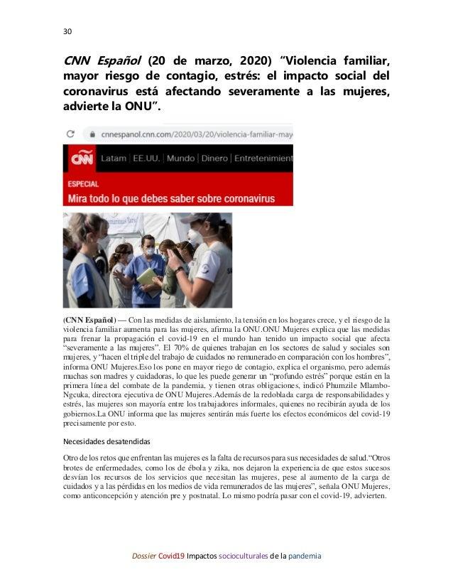 """30 Dossier Covid19 Impactos socioculturales de la pandemia CNN Español (20 de marzo, 2020) """"Violencia familiar, mayor ries..."""
