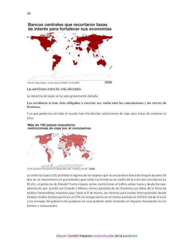 32 Dossier Covid19 Impactos socioculturales de la pandemia Las aerolíneas entre los más afectados La industria de viajes s...