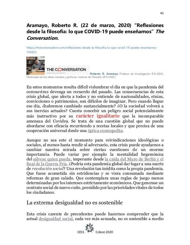 """41 CESS Colson 2020 Aramayo, Roberto R. (22 de marzo, 2020) """"Reflexiones desde la filosofía: lo que COVID-19 puede enseñar..."""