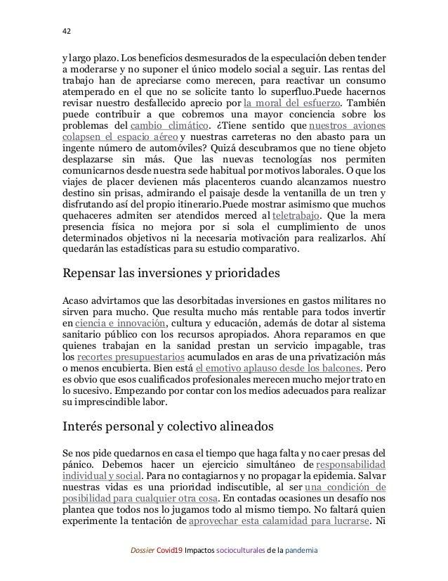 42 Dossier Covid19 Impactos socioculturales de la pandemia y largo plazo. Los beneficios desmesurados de la especulación d...