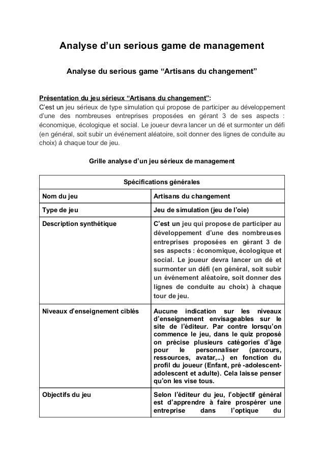 Dossier D Analyse D Un Serious Game De Management