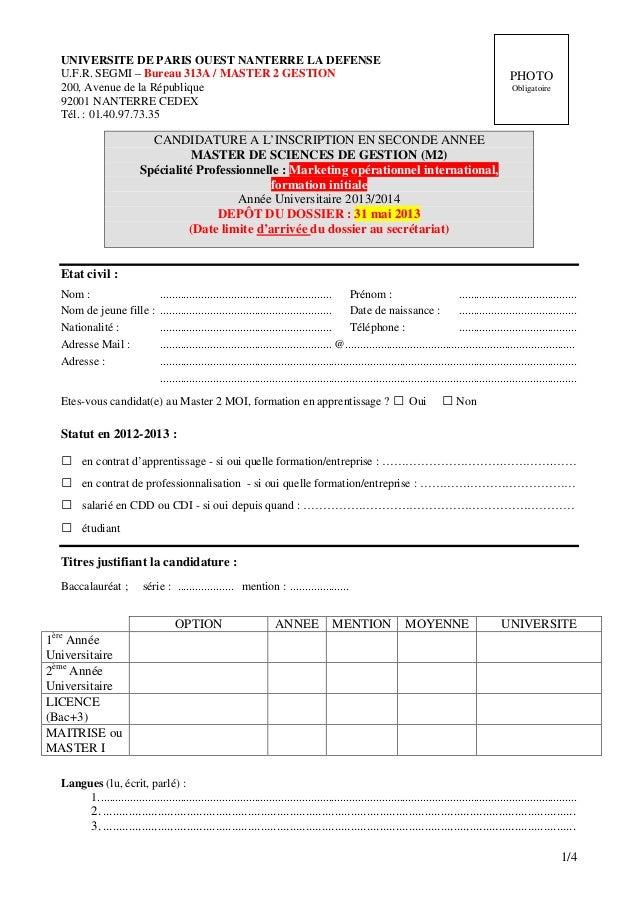 UNIVERSITE DE PARIS OUEST NANTERRE LA DEFENSE   U.F.R. SEGMI – Bureau 313A / MASTER 2 GESTION                             ...