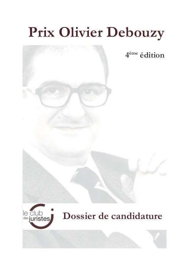 Prix Olivier Debouzy 4ème édition Dossier de candidature