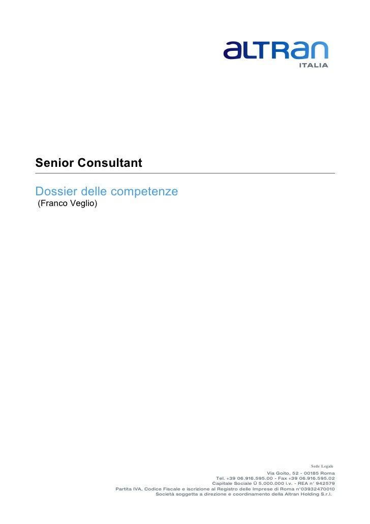 Senior Consultant Dossier delle competenze (Franco Veglio) . bac0cbb4d7d1