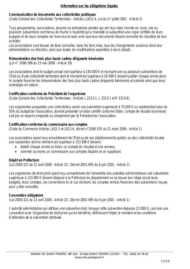Dossier Demande De Subventions Pour Les Associations De Saint Pierre