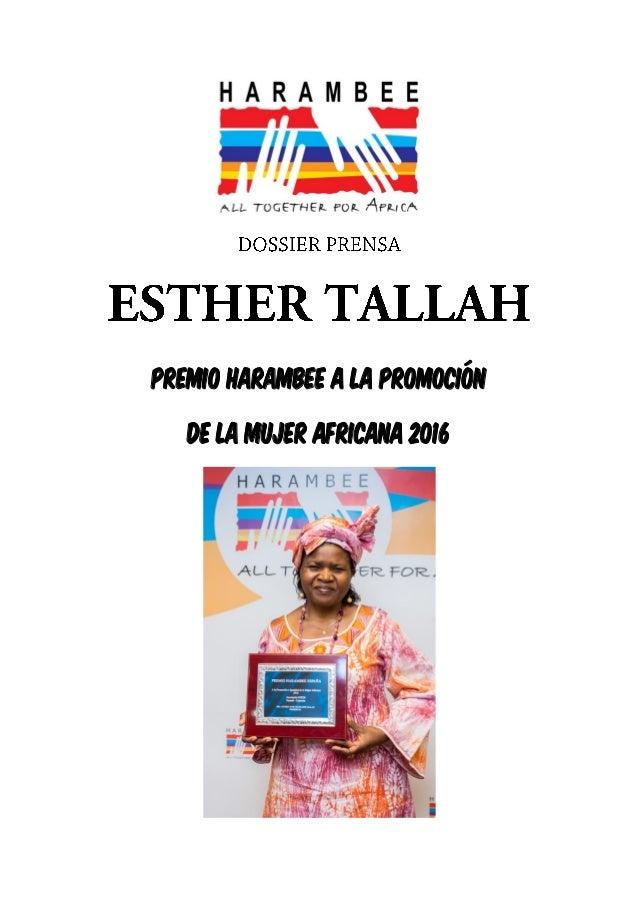 PREMIO HARAMBEE A LA PROMOCIÓN DE LA MUJER AFRICANA 2016