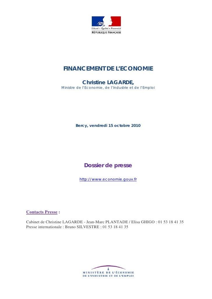 Dossier de presse   financement de l'économie