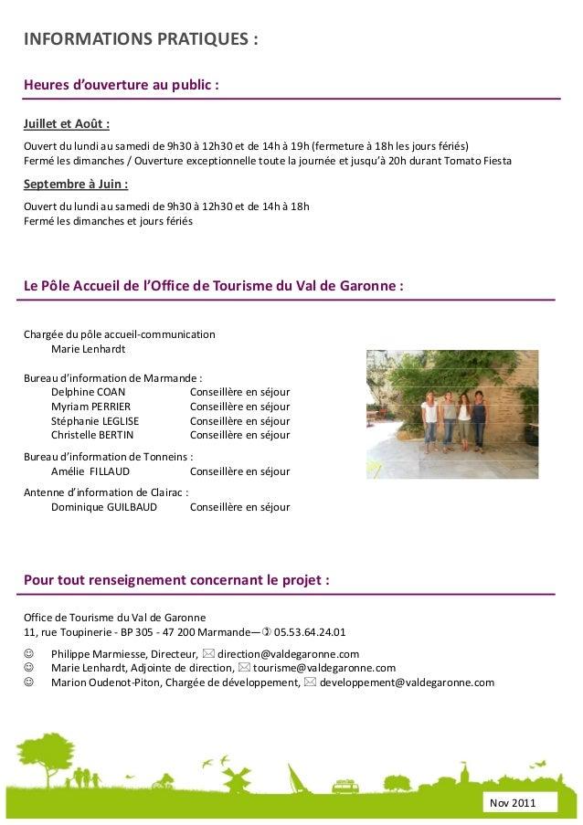 Dossier de presse office de tourisme du val de garonne - Office de tourisme de marmande ...
