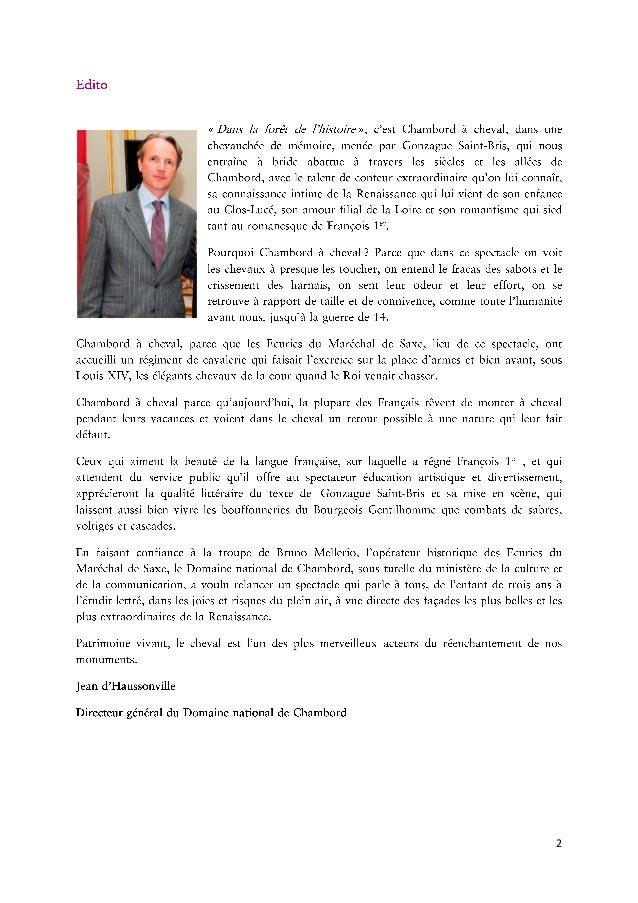 Dossier de presse - Le Spectacle Equestre du Domaine national de Chambord Slide 2