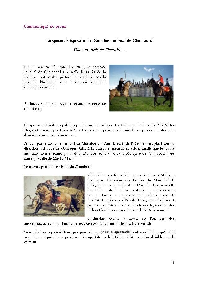 Dossier de presse - Le Spectacle Equestre du Domaine national de Chambord Slide 3
