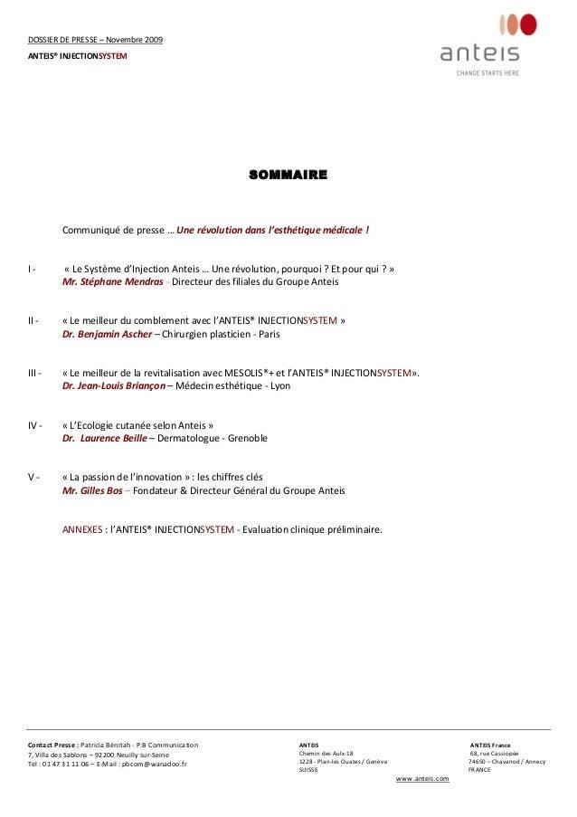 Dossier de Presse ANTEIS - Novembre 2009 Slide 2