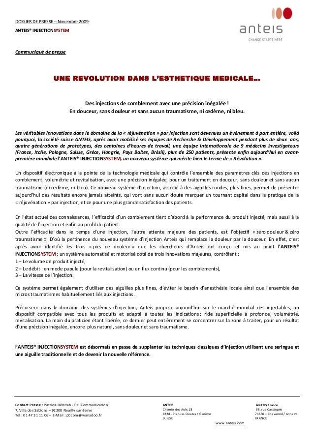 Dossier de Presse ANTEIS - Novembre 2009 Slide 3